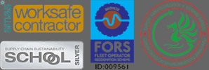 SMAS Worksafe Contractor, School Supply Chain Sustainability Silver, FORS Fleet Operator Recognition Scheme, Green Dragon Environmental Standard
